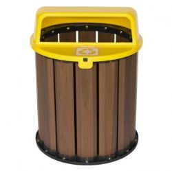 Lixeira Coleta Seletiva  67 litros, tampa Amarela