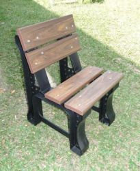 Cadeira de Jardim 50 cm , com encosto, cor Ipê/Marrom - 04 réguas
