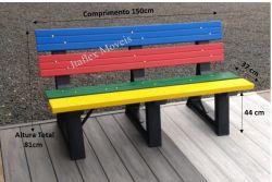 Banco de Jardim 150cm , com encosto, colorido - 04 réguas