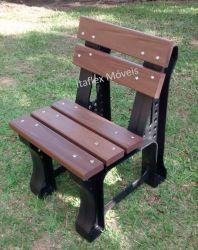 Cadeira de Jardim 50 cm , com encosto, cor Ipê/Marrom - 05 réguas